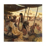 Abraham's Wife, Sarai, and a Slave Bargain for Cloth in a Marketplace Giclée-tryk af Tom Lovell