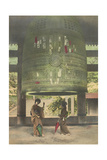 Two Women Stand Below a Giant Bell in the Chion-In Temple of Kyoto Photographic Print by Kiyoshi Sakamoto