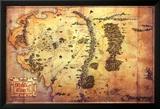 The Hobbit: A Unexpected Journey - Karte von Mittelerde Kunstdrucke