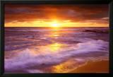 Zonsondergang bij Cliffs Beach, San Diego Poster