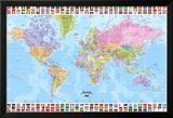 Carte du monde politique en anglais avec drapeaux Posters