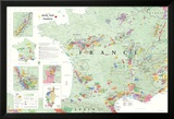 France Wine Map Poster Kuvia