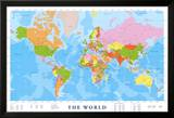 Wereldkaart met Engelse tekst Posters