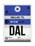 DAL Dallas Luggage Tag 1 Premium Giclée-tryk af  NaxArt