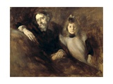 Alphonse Daudet and His Daughter Affiche par Eugene Carriere