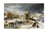 Winter Scene with Ice Skaters and Birds Posters tekijänä Pieter Brueghel the Younger