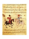 Two Islamic Men in Horseback Battle with Lances Poster