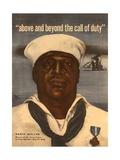 World War 2 Poster with a Portrait of Doris 'Dorie' Miller Stampe