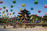 Colourful Lanterns in the Beopjusa Temple Complex, South Korea, Asia Photographic Print by  Michael