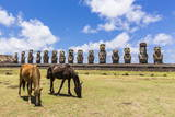 Horses Grazing at the 15 Moai Restored Ceremonial Site of Ahu Tongariki Photographic Print by  Michael