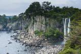 Jeongbang Pokpo Waterfall, Island of Jejudo, UNESCO World Heritage Site, South Korea, Asia Photographic Print by  Michael