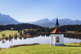 Chapel at Hergratsrieder See Lake with Allgau Alps Photographic Print by  Markus