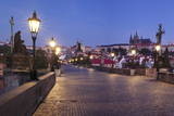 Illuminated Charles Bridge and Castle District with Hradcany Photographic Print by  Markus
