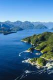 Aerial of a Huge Fjord in Fiordland National Park Impressão fotográfica por  Michael