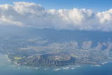 Aerial of the Diamond Head and Oahu, Hawaii Photographic Print by  Michael