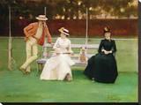 The Tennis Match Trykk på strukket lerret av Sir John Lavery