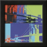 Brooklyn Bridge, c.1983 (Orange, Blue, Lime) Poster by Andy Warhol