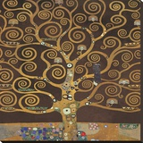 Tree of Life (Brown Variation) II Stretched Canvas Print by Gustav Klimt
