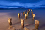 Wooden Pillars of an Old Pier Stand Motionless Against the Sky in Puerto Natales, Patagonia, Chile Reproduction photographique par Patrick Brandenburg