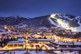 Winter Cityscape of Park City Mountain Resort and Deer Valley Resort, Utah Photographic Print by Adam Barker