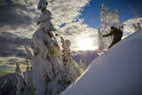 A Young Male Skier Makes Some Late Day Turns in the Mount Baker Backcountry of Washington Fotoprint van Jay Goodrich