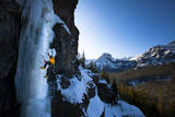 Male Alpine Legend Climber Climbing Hyalite Classic the Scepter (Wi5) in Montana Photographic Print by Ben Herndon