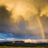 A Thunderstorm Leaves a Rainbow over the Gros Ventre Mountains, Grand Teton National Park, Wyoming Impressão fotográfica por Mike Cavaroc
