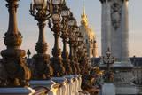 Ornate Lamps Along Pont Alexandre Iii, Paris, France Fotografisk trykk av Brian Jannsen