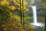 Fall Colors Add Beauty to South South Silver Falls, Silver Falls State Park, Oregon Photographic Print by Craig Tuttle