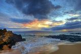 Sunset over Secret Beach at Makena on Maui Reproduction photographique par Ron Dahlquist