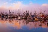 Morning Fog and Fishing Boats, Newport Harber, Oregon Coast. Pacific Northwest Fotografisk trykk av Craig Tuttle