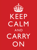 Keep Calm and Carry On (Motivational, Red) Art Poster Print ポスター