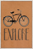 Explore Retro Bicycle Player Art Poster Print Stretched Canvas Print