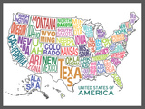 United States of America Stylized Text Map Colorful Affiches