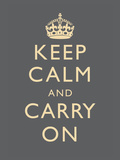 Keep Calm and Carry On Motivational Grey Art Print Poster ポスター