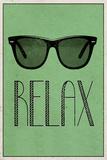 Relax Retro Sunglasses Art Poster Print Plakater