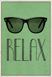 Relax Retro Sunglasses Art Poster Print Stretched Canvas Print