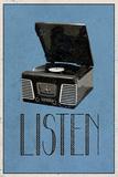Listen Retro Record Player Art Poster Print Posters
