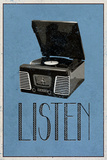 Listen Retro Record Player Art Poster Print Julisteet