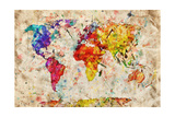 Vintage World Map. Colorful Paint, Watercolor, Retro Style Expression on Grunge, Old Paper. Poster par Michal Bednarek