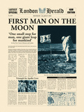 First Man On The Moon Print by  The Vintage Collection