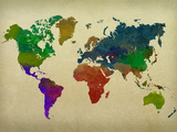 World Map Watercolor Affiches