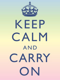 Keep Calm and Carry On Motivational Rainbow Art Print Poster 高画質プリント