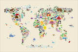 Animal Map of the World for children and kids Posters by Michael Tompsett