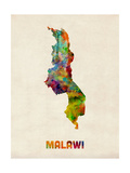 Malawi Watercolor Map Plakat af Michael Tompsett