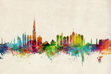 Dubai Skyline Art by Michael Tompsett