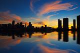 Miami City Skyline Panorama at Dusk Fotografie-Druck von  prochasson