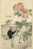 Crane and Peony Posters par  Bairei