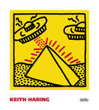 Untitled, 1984 (pyramid with UFOs) Poster di Keith Haring