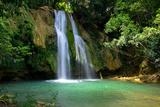 Waterfall in Deep Green Forest Fotografisk trykk av Vitaliy Pakhnyushchyy